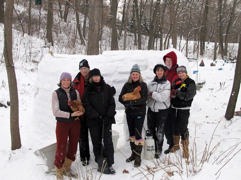 building an igloo with Sarah Bowman
