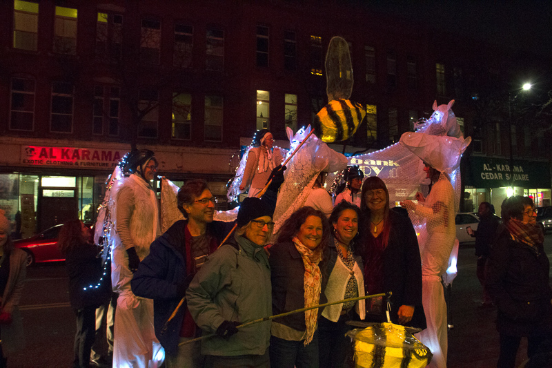 Ghost horses, bees and crew for Sarah Bowman parade (Willis Bowman)