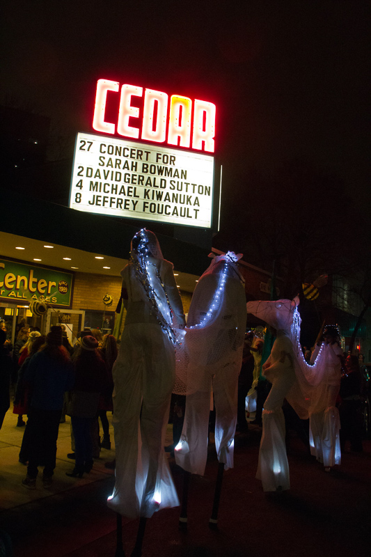 End of 2nd line parade for Sarah Bowman outside the Cedar Cultural Center