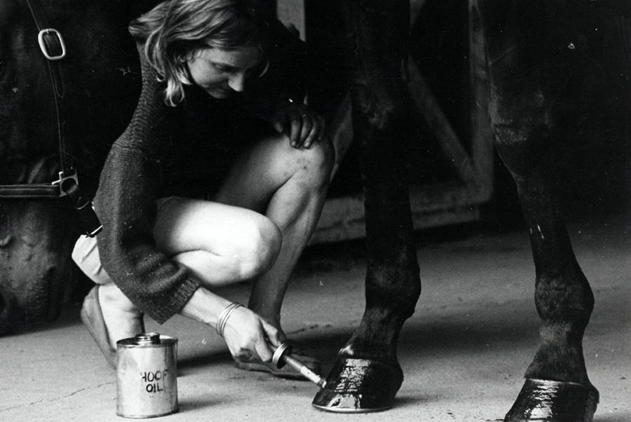 Sarah Bowman oiling horse's hoof