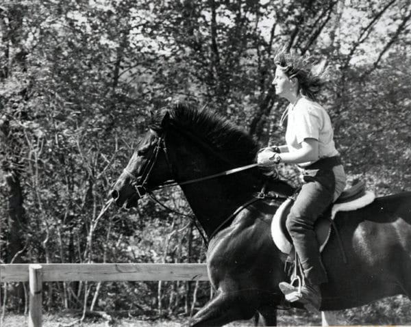 Sarah Bowman riding a horse, Long Lake, MN, 1987
