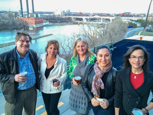 Sarah Bowman with friends at the Guthrie Theater
